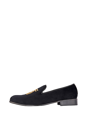 Ash Black Tassel Embroidered Loafer Shoes by Nopelle