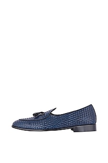 Navy Blue Belgian Loafer Shoes by Nopelle