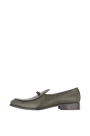 Pine Green Belgian Loafer Shoes by Nopelle