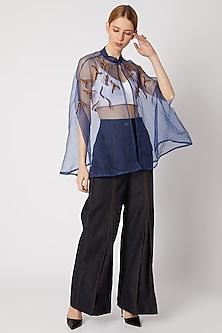 Cobalt Blue Sheer Cape With Embroidery by Nori