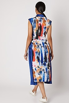 Cobalt Blue Printed Dress With Panel by Nori