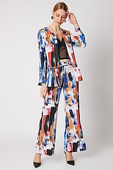 Cobalt Blue Frilled Top With Printed Pants by Nori