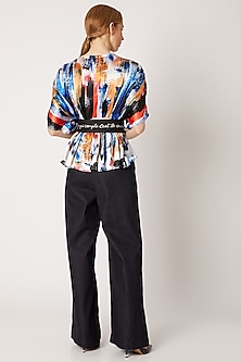 Cobalt Blue Printed Crossover Top With Belt by Nori