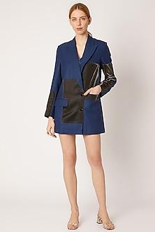 Cobalt Blue Blazer With Metallic Patches by Nori