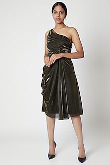 Gold Metallic Draped Dress by Nori