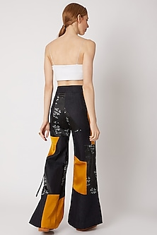 Cobalt Blue Printed Pants With Belt by Nori