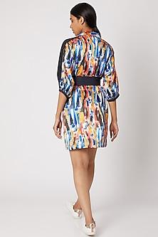 Cobalt Blue Printed Shirt Dress With Belt by Nori