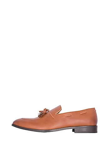 Tan Handcrafted Tassel Loafers by Nopelle