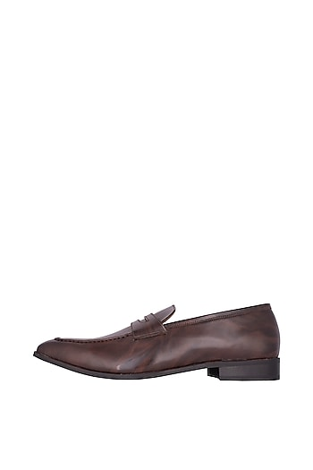 Brown Handcrafted Penny Loafers by Nopelle