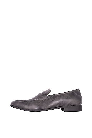 Grey Handcrafted Penny Loafers by Nopelle