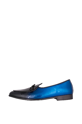 Deep Blue Handcrafted Low-Cut Belgian Loafers by Nopelle