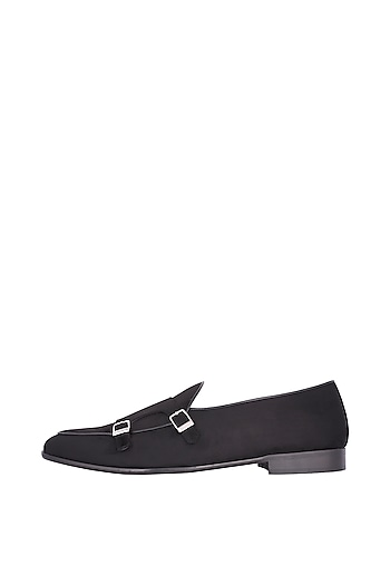 Black Handcrafted Double Monk Strap Belgian Loafers by Nopelle