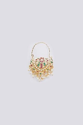 Gold Finish Pearls Nose Ring by Moh-Maya By Disha Khatri