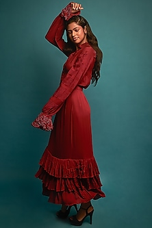 Red Embroidered Maxi Gown by Nirmooha