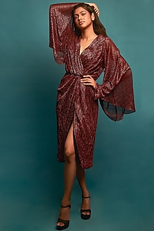 Red Shimmer Cross-Front Dress by Nirmooha