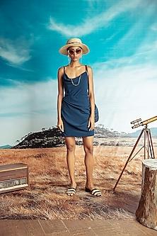 Teal Blue Mini Cowl Dress by Nirmooha-NIRMOOHA