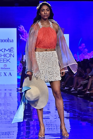 Blue Printed Short Overcoat by Nirmooha