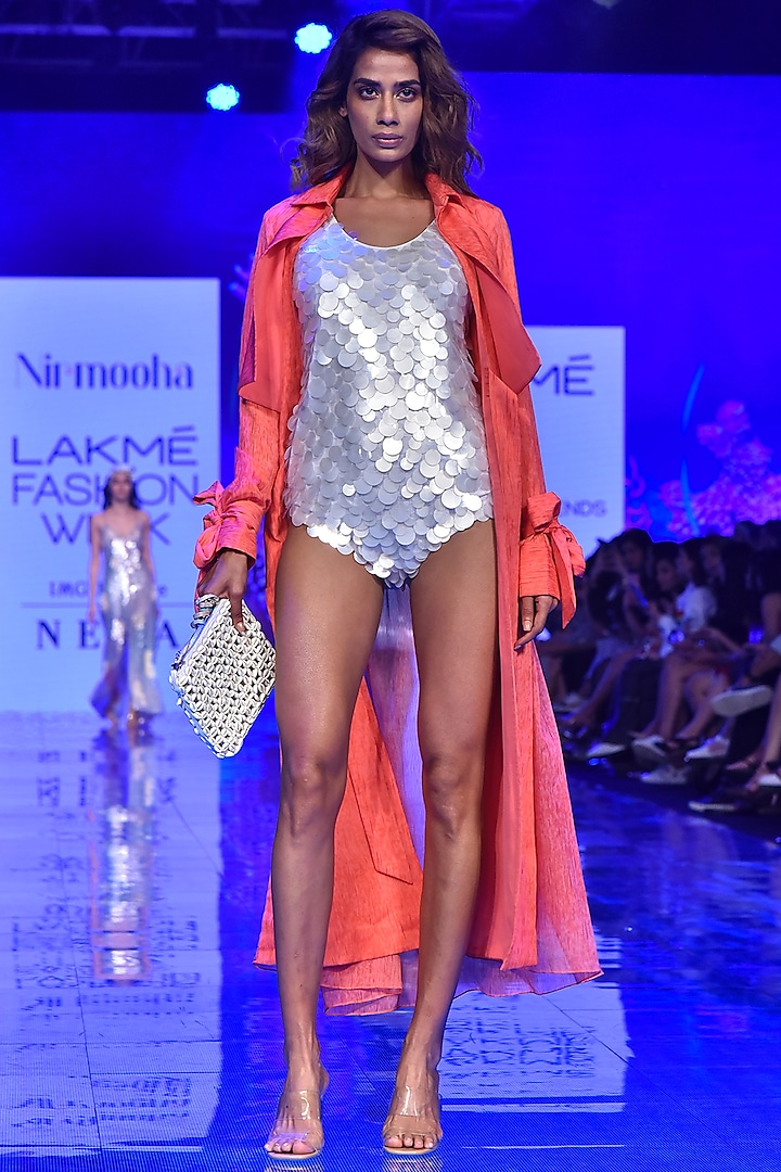 Coral Pink Double Layered Overcoat by Nirmooha