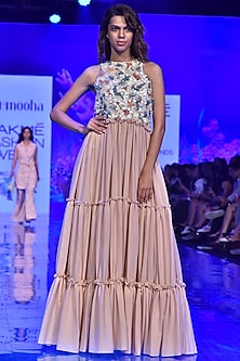Nude Embroidered Tiered Gown by Nirmooha