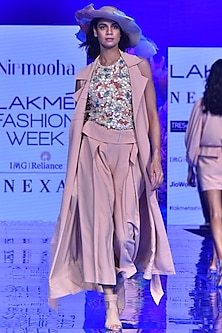 Nude Sleeveless Overcoat With Belt by Nirmooha