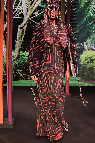 Charcoal Black Geometric Printed Gown by Nirmooha