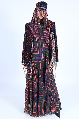 Charcoal Black Printed Jacket by Nirmooha