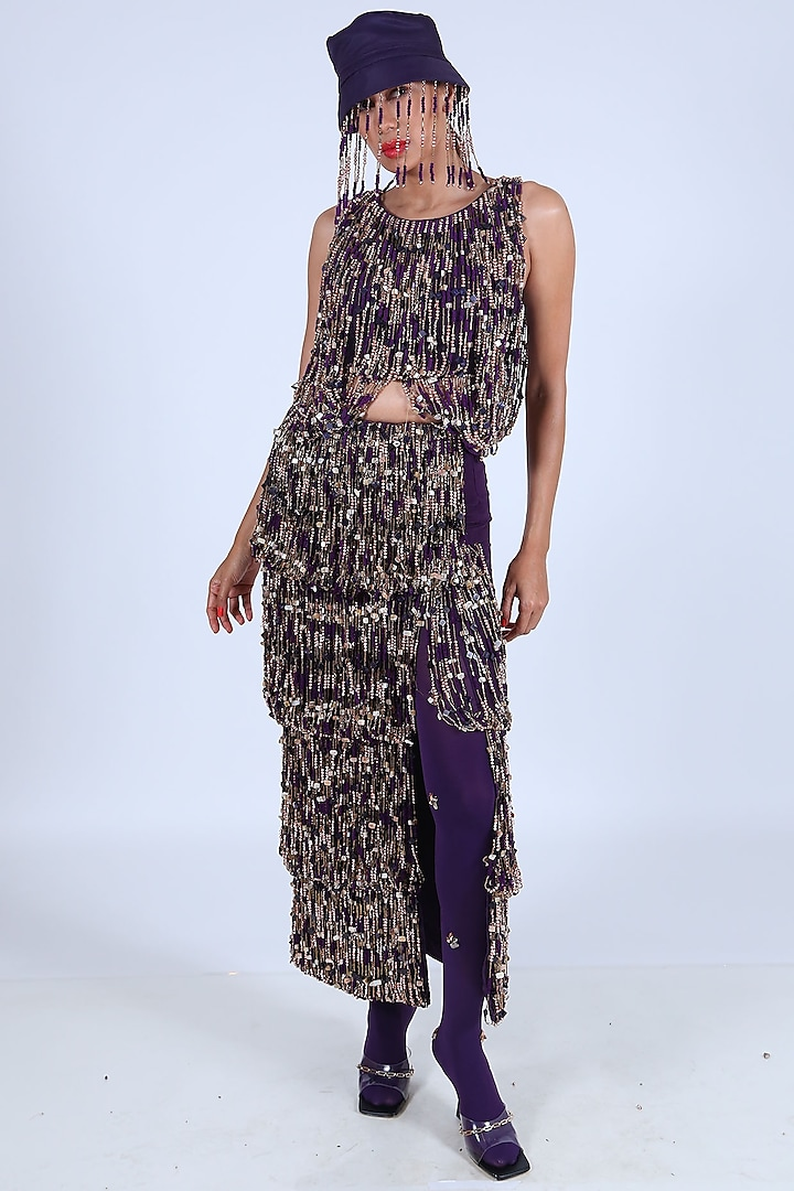 Purple Embellished Skirt Set by Nirmooha