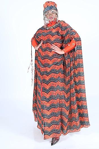 Orange Hand Embroidered & Printed Kaftan by Nirmooha