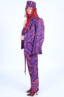 Deep Violet & Burnt Orange Printed Jacket by Nirmooha-NIRMOOHA