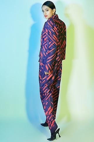 Deep Violet & Burnt Orange Printed Jacket by Nirmooha