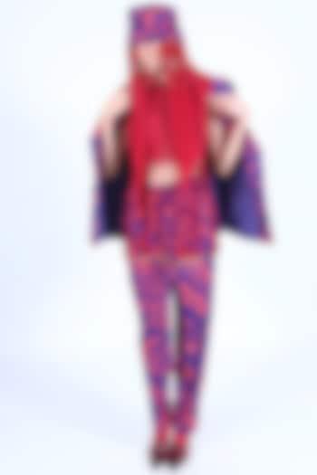 Deep Violet & Burnt Orange Printed Pants by Nirmooha
