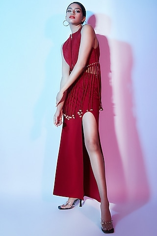 Red Top With Tassels by Nirmooha