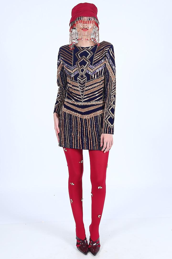 Purple Embroidered & Printed Dress by Nirmooha