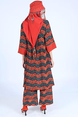 Burnt Orange Printed Jacket Set by Nirmooha