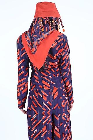Deep Violet & Burnt Orange Embroidered Jacket Set by Nirmooha