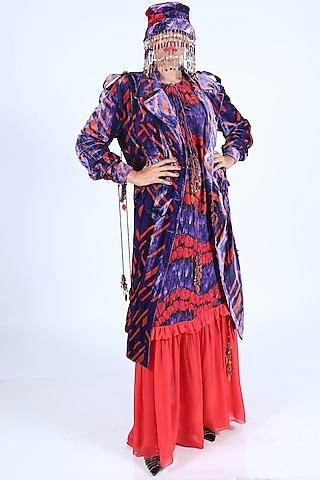 Deep Violet & Burnt Orange Printed Gown With Tassels by Nirmooha