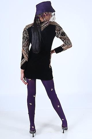 Charcoal Black Embroidered Dress by Nirmooha