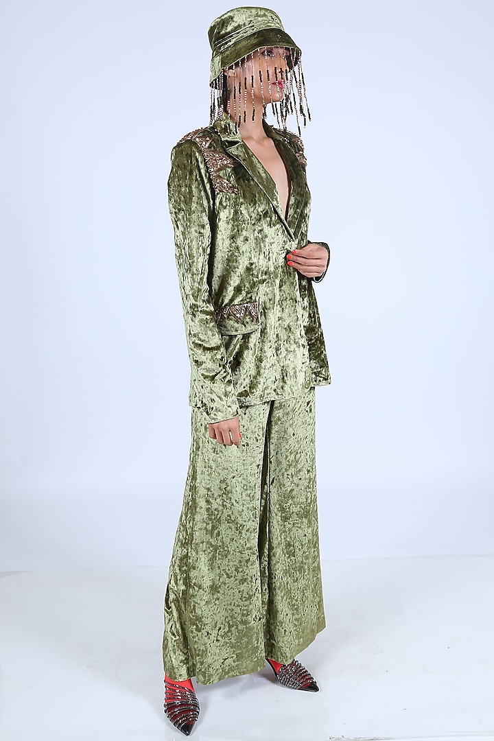 Olive Green Embroidered Jacket by Nirmooha