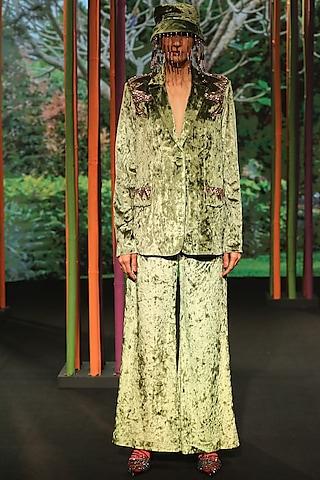 Olive Green Velvet Pants by Nirmooha