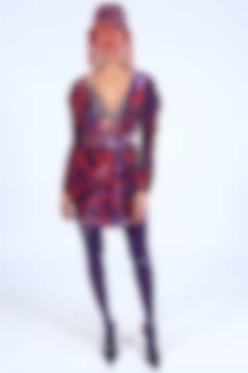 Deep Violet Printed Dress With Belt by Nirmooha