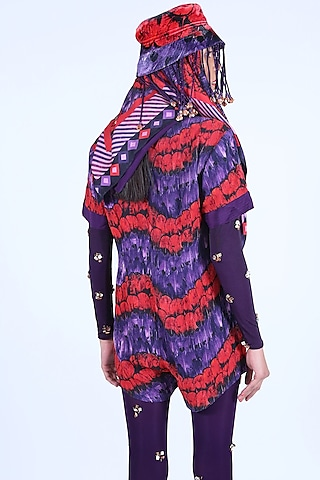 Deep Violet & Burnt Orange Printed Jumpsuit by Nirmooha
