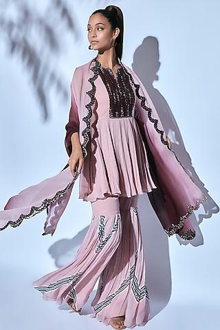Pink Hand Embroidered & Printed Sharara Set by Nirmooha