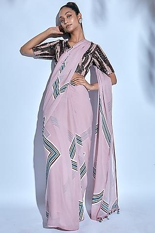 Pink Printed & Embroidered Saree Set by Nirmooha