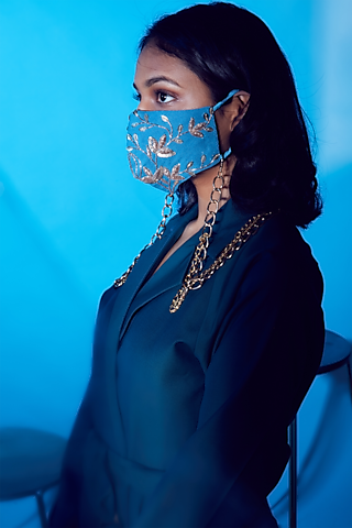 Denim Blue Embroidered Mask by Nirmooha