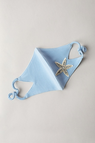 Baby Blue Hand Embroidered mask by Nirmooha
