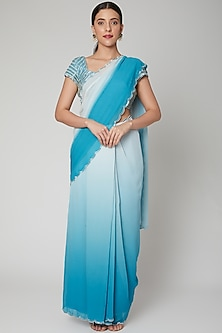 Blue Ombre Printed & Embroidered Saree Set by Nirmooha