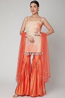 Coral & Orange Embroidered Sharara Set by Nirmooha