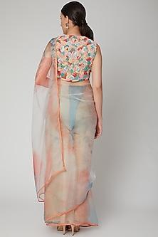 Coral Printed & Embroidered Saree Set by Nirmooha