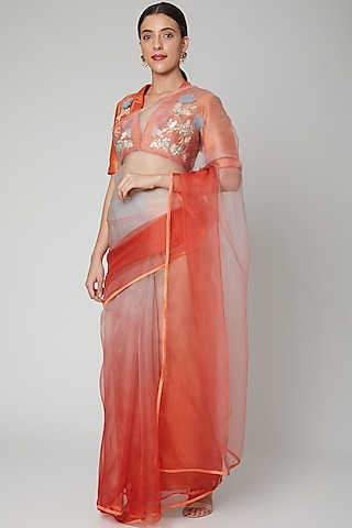 Punch Pink Embroidered Saree Set by Nirmooha