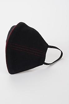 Black Mask With Maroon Stripes by Nirmooha